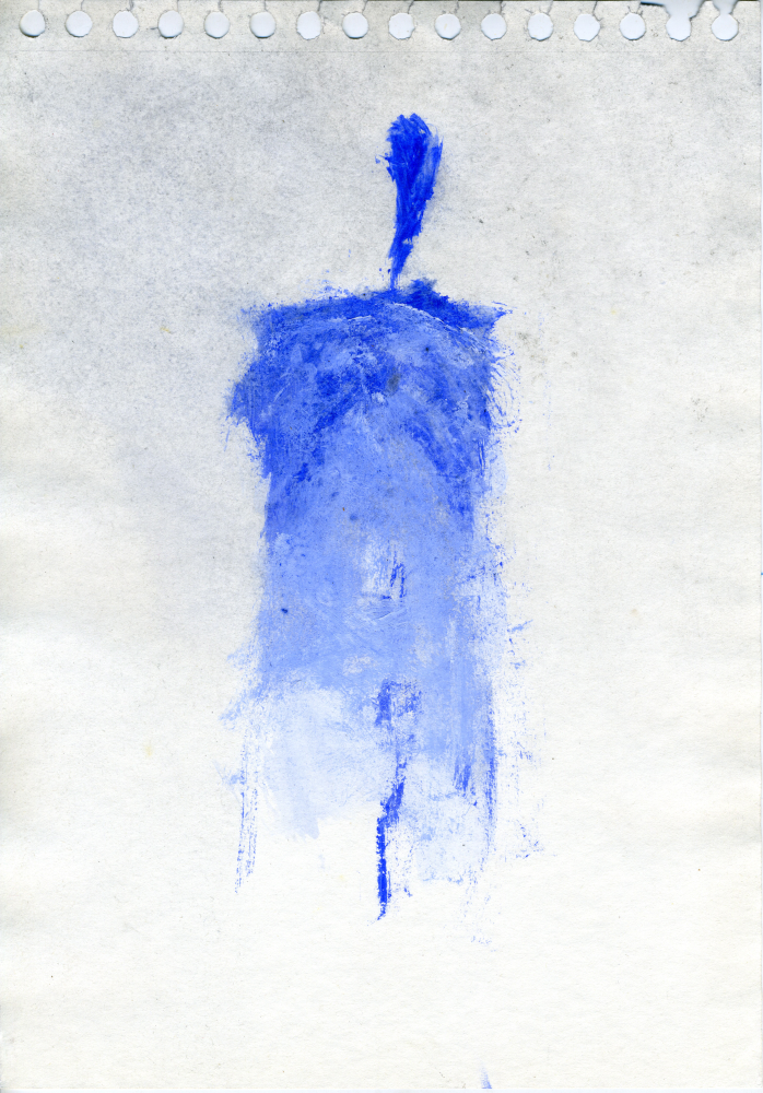 Un, en bleu.