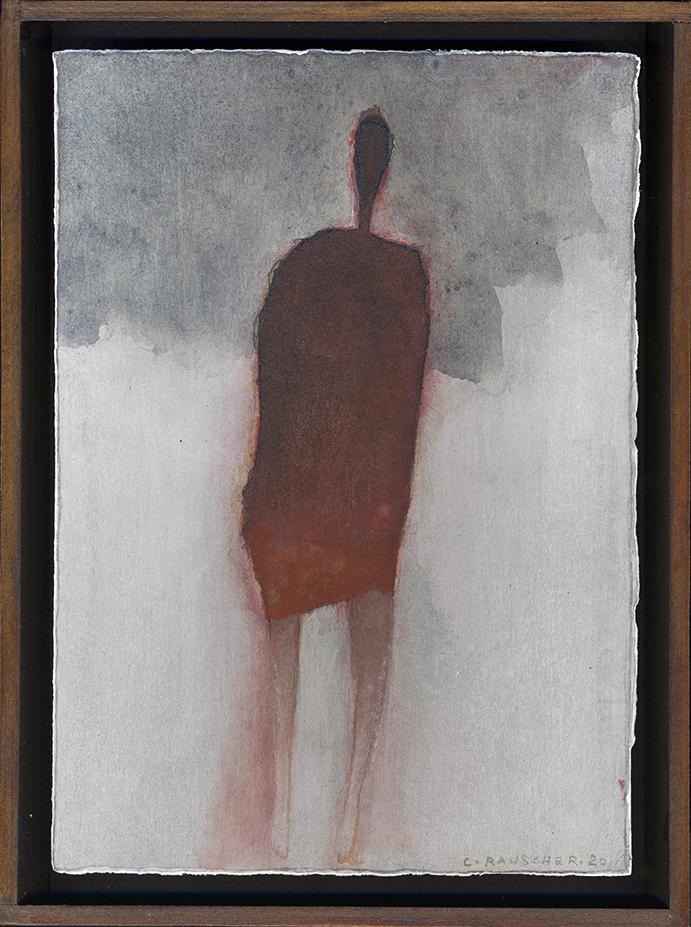 Sans titre, en robe rouge. Peinture sur carton. 5 mai 2020