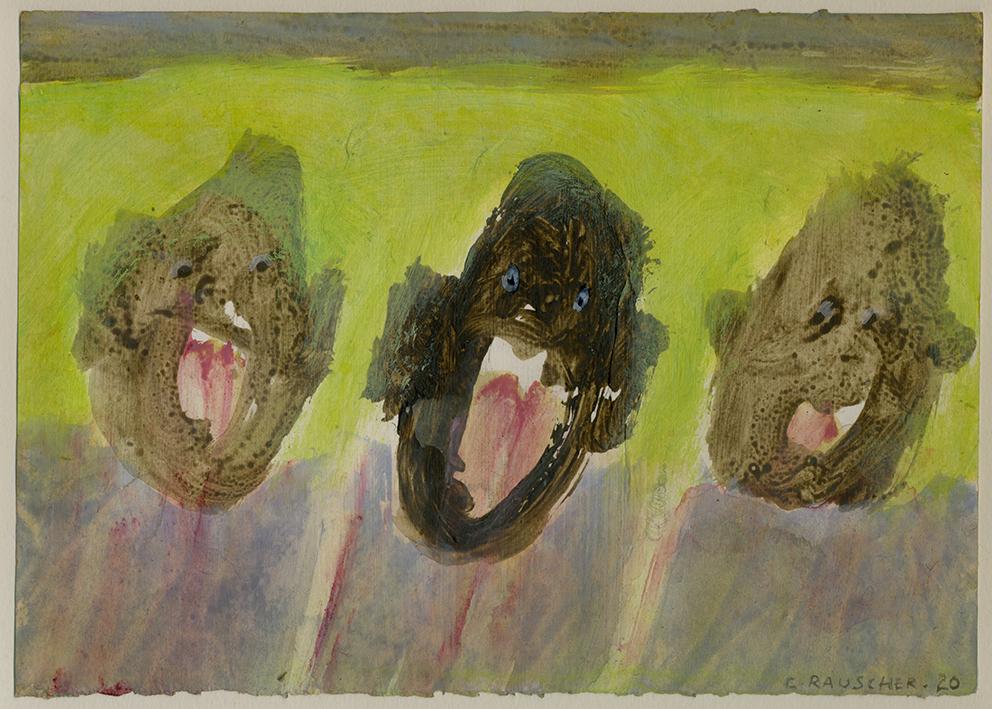 Trois cris, peinture sur papier
