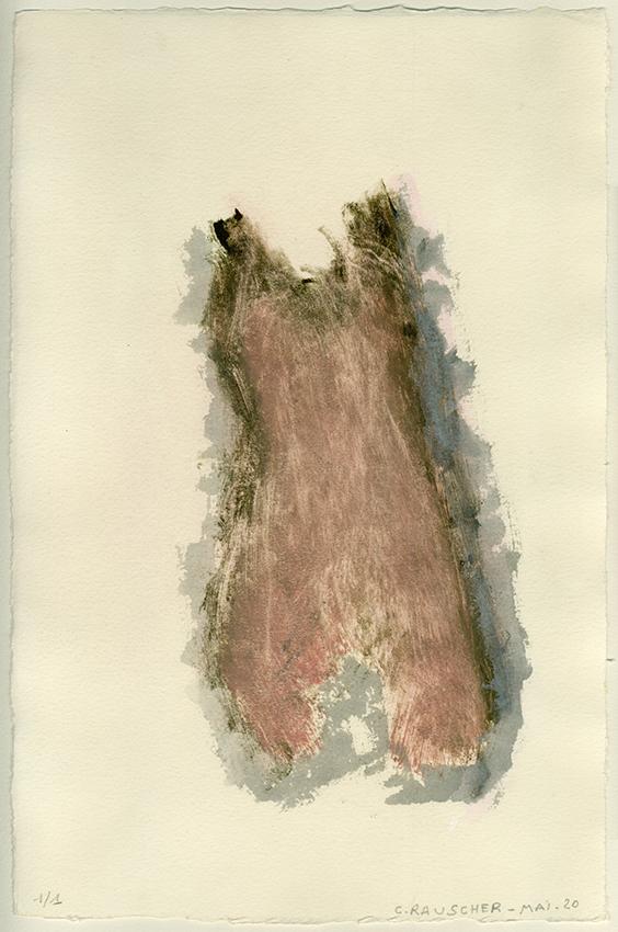 La peau comme une robe. Monotype, Mai 2020